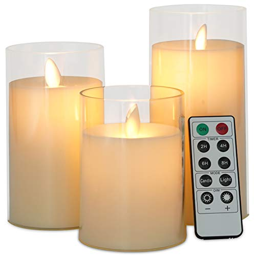 """Flameless Candles Flickering Battery Operated Candles Set of 3(H 4""""5""""6"""" x D 3"""") Effect Glass LED Candles Include Realistic Moving Wick with Timer(White)"""