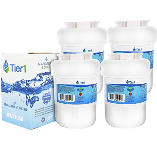 Tier1 Refrigerator Water Filter Replacement for GE MWF SmartWater, MWFP, MWFA, GWF, GWFA, HWF, Kenmore 9991, 46-9991, 469991 - with Activated Carbon Media to Reduce Water Contaminants - 4 Pack