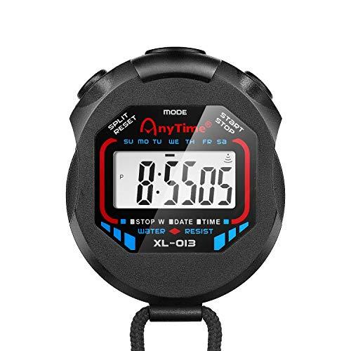 Flexzion Cronómetro Digital, Cronómetro Deportivo Resistente al Agua con Pantalla LCD y cordón para Cuello, para deprtes, Correr, Nadar, Actividades al Aire Libre, Color Negro