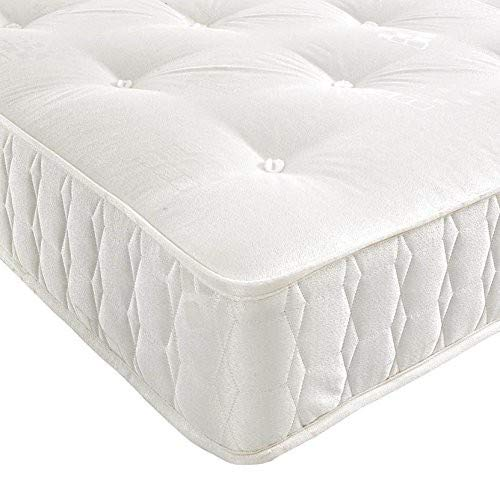 BEDZONLINE Pocket Spring Mattress, Damask, White, Single