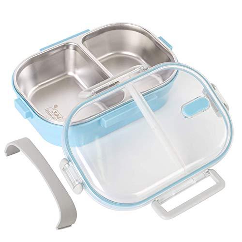 Bento Box, Lunchbox Kinder, Brotdose Kinder Rostfreier Stahl Auslaufsicher Bento Brotdose mit 2 Fächern Lebensmittel-Snack-Container für Kinder Schule und Büro für Erwachsene