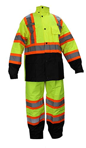 RK Safety RW-CLA3-TLM55 Class 3 Rain suit, Jacket, Pants High Visibility Reflective Black Bottom with X Pattern(Large, Lime)