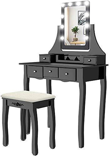 Moderne Kommode Kommode modernes minimalistischer Stil Set mit fünf Schubladen mit LED-Leuchten 10 Quadrat Spiegel...