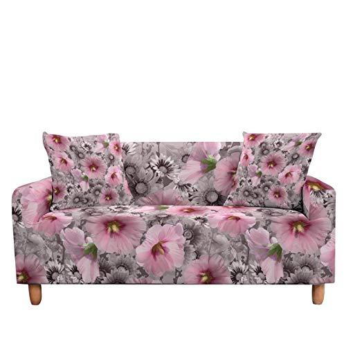LucklyingBao Funda De Sofá Cubierta Abstracta De La Flor Rosa Elastice Slipcover Cover,1/2/3/4 Seater Couch Cover Stretch Stretch L Shaped Armchair Cover para La Sala De Estar,4 Plazas (235,300Cm)