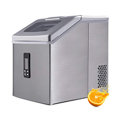 Ice Maker Machine Countertop, Portable Electric Ice Machine for Crystal Ice Cubes Nugget, 48 lbs/24H,for Home/Kitchen/Office/Bar, with Ice Scoop and Basket