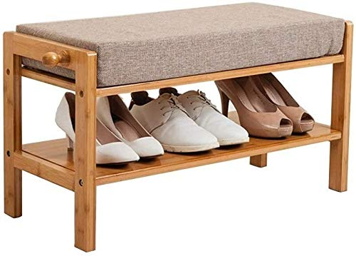 Wddwarmhome Taburete cambiador acolchado taburete taburete de almacenamiento retro de madera para pasillo de almacenamiento de polvo zapatero soporte de tela de lino cojín cojín tamaño 70 x 30 x 38 cm