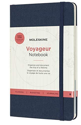 Moleskine Voyageur Notebook (Reise Tagebuch, Stoff-Hartcover mit elastischem Verschluss, Größe 11,5 x 18 cm, 208 Seiten) Meerblau