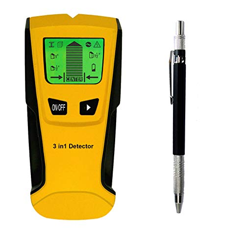 ACCIEEY Leitungssucher Ortungsgerät Wand Scanner Detektor mit LCD Anzeige, akustischer Warnung, automatischer Korrektur und AC-Warnfunktion, Smart Stud Finder für Holz Stromleitung Metall (Gelb)