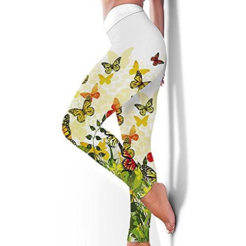 Opprxg Pantalones Deportivos de Fitness con Estampado de Mariposas Nalgas elásticas de Fondo Delgado Europeo y Americano Leggings Pantalones de Yoga Traje womenL