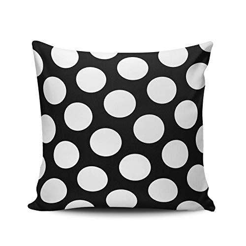 SUN DANCE Fundas de almohada para decoración del hogar, diseño de lunares blancos y negros grandes, doble cara, estampado europeo, 66 x 66 cm