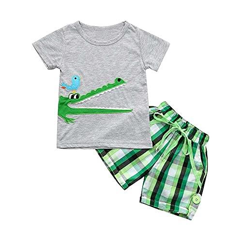 junmo shop Conjunto de camisetas con estampado de dibujos animados para niños pequeños
