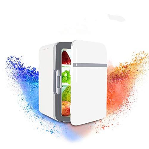 Zlinin Frigorífico para coche de 10 litros, doble frigorífico para el hogar, pequeño congelador, refrigerador, incubadora fría y caliente (nombre del color: blanco)