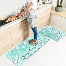 Kitchen Rug Set,LEEVAN Kitchen Floor Mats 2 Piece PVC Leather Anti Fatigue Comfort Heavy Duty Standing Mat Waterproof Oil ...