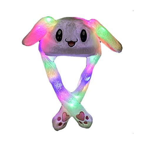 Kapian Plüsch Tier Ohr Hut Spielzeug Geburtstagsgeschenk mit Beweglichen Ohren Drücken der Tiermütze Machen die Ohren Bewegen Mädchen Cosplay bunten LED-Licht Dame Mädchen