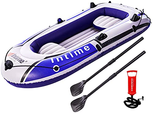 4 Person Inflatable Boat Canoe - 9FT Raft Inflatable Kayak with Air Pump Rope Paddle 2,3 or 4 Person Boat for Adults and Kids, Portable Camouflage Fishing Boat
