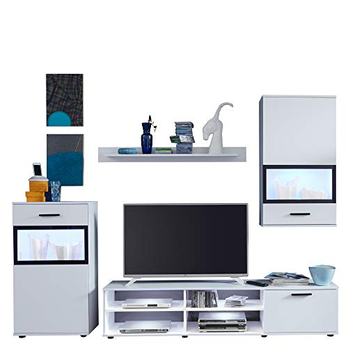 trendteam Wohnzimmer Anbauwand Wohnwand Swing, 231 x 182 x 38 cm in Weiß mit viel Stauraum
