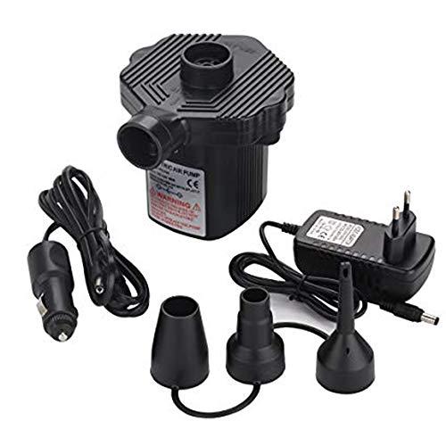 Vipithy Elektrische Luftpumpe, für Schlauchboote Luftbettpumpe Poolspielzeug Schwimmpumpe, Heim/Auto 2 in 1 Luftpumpe (EU-Stecker)