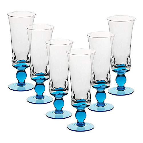 Eiscremeglas 6er-Set Eisbecher Cocktailglas Umbria Bambini 600ml hellblau