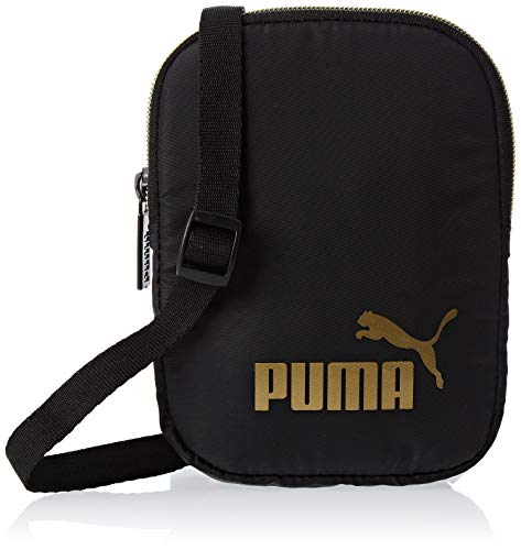 PUMA WMN Core Seasonal Flat Portable Bandolera, Mujeres, Black-Gold, OSFA