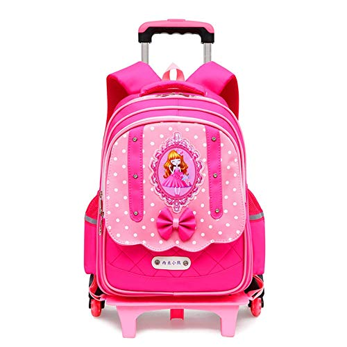 Children School Bag Princess Style Backpack with 6 wheels, Trolley Backpack For Girls, Detachable Waterproof Rolling Backpack Stair Clamber For Primary School Student