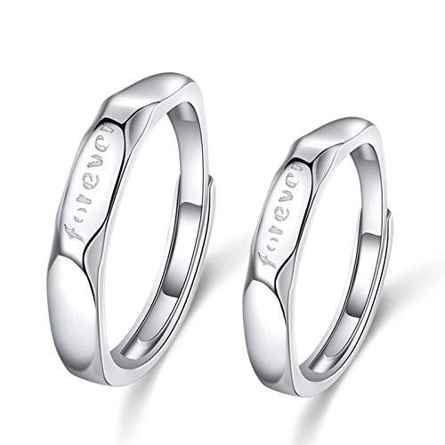 Aartoil - Par de anillos para él y sus juegos de promesa de plata 925 grabados Forever ajustables para hombre y mujer, 2 unidades, color plateado