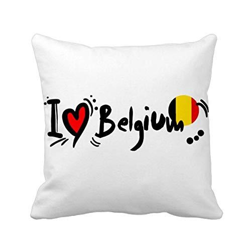 DIYthinker Ik hou van België Woord Vlag Liefde Hart Illustratie Vierkant Gooi Kussen invoegen Kussen Cover Thuis Bank Decor Gift