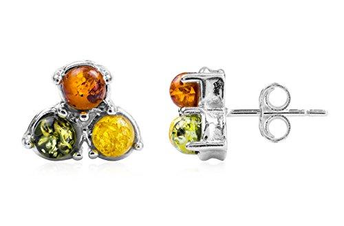 Noda - Orecchini pendenti a bottone a 3 pietre, stile contemporaneo, argento sterling e ambra, multicolore
