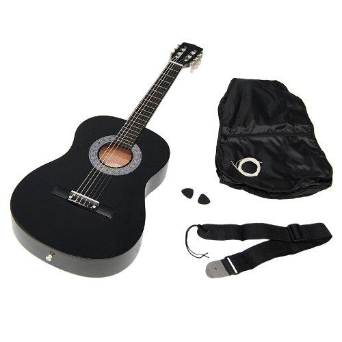ts-ideen 5262 Kindergitarre Akustik Gitarre in der 3/4 Größe in Schwarz für ca. 8-12 Jahre mit Zubehörset: Gitarrentasche, Gurt und Ersatzsaiten