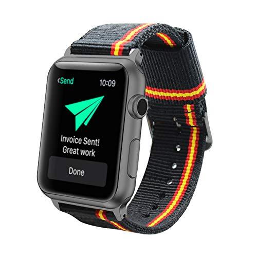 Estuyoya - Pulsera de Nailon Compatible con Apple Watch Colores Bandera de España, Ajustable Reemplazo Estilo Deportiva Casual Elegante para 38mm 40mm Series 6/5 / 4/3 / 2/1 / SE - Lineblack