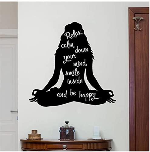 Calcomanía de pared de Yoga para mujer, cita inspiradora, pegatina de vinilo para meditación, arte, decoración del hogar, sala de estar, gimnasio, Mural extraíble 57x55cm