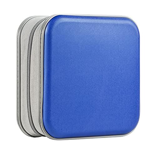 UENTIP - Funda para CD de 48 capacidades, portátil, DVD, plástico duro, organizador de CD, cartera, almacenamiento de DVD (48, azul)