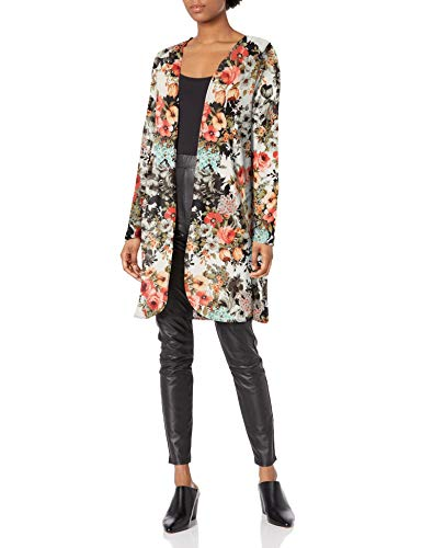 Star Vixen Women's Plus Size Long Sleeve Open Front Cardigan, Light Floral, 3X