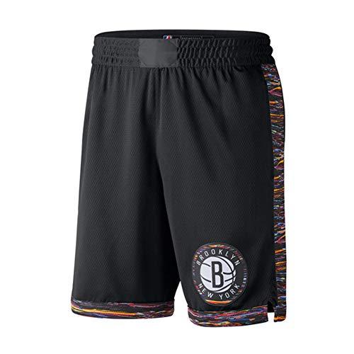 CLKJ Nets - Pantalones cortos de baloncesto para hombre, pantalones cortos de competición de entrenamiento, malla transpirable de secado rápido, color negro A-M