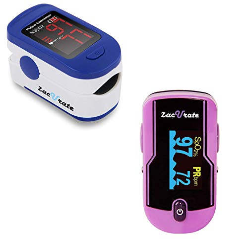 Zacurate 500BL Fingertip Pulse Oximeter and 500E Premium Pulse Oximeter Fingertip Bundle