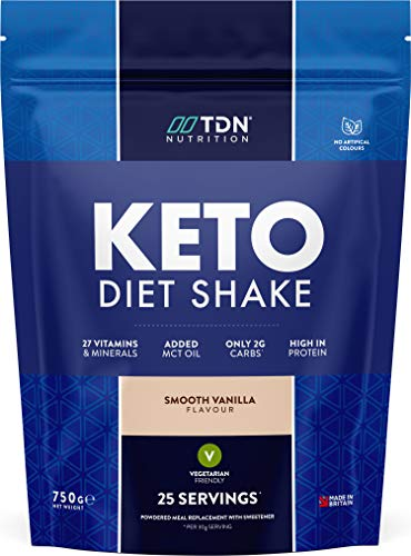 Keto Diet Shake Vanilla - High Protein Shake with Added MCT Oil Powder - Plus 27 Vitamins and Minerals - Large 750g Tub - UK Made - Vegetarian Friendly (Smooth Vanilla)