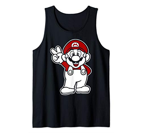 Super Mario Red And White Peace Sign Tank Top