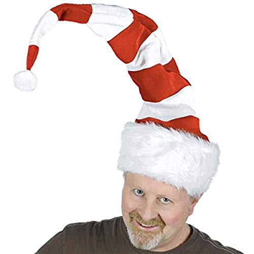 amscan 393073 Extra Long Striped Felt and Plush Santa Christmas Hat
