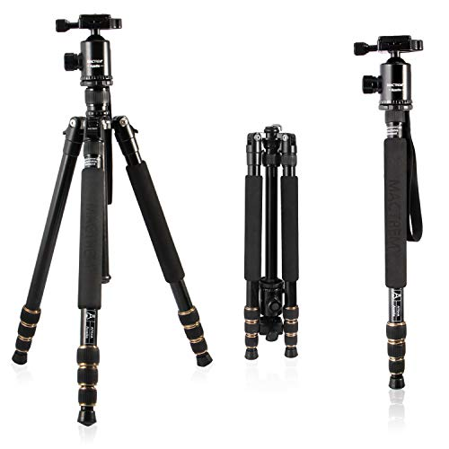 MACTREM Lightweight 66-inch Camera Tripod Detachable Monopod, 360 Degree Ball Head, 1/4 Quick Release Plate with Carrying Tripod Bag for Canon Sony Nikon DSLR Cameras- 33lbs(15kg) Load