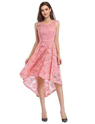 KOJOOIN Damen Abendkleider Cocktailkleid Brautjungfernkleider für Hochzeit Unregelmässiges Kurzespitzenkleid Ärmellos Pink Rosa /32,XS
