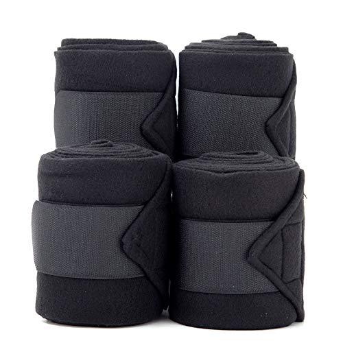 Merauno Polar Fleece Bandagen Fleece Dressage PoloTrainingsverband Satz von 4 2 Farben Wahl Black & Blue (Black)