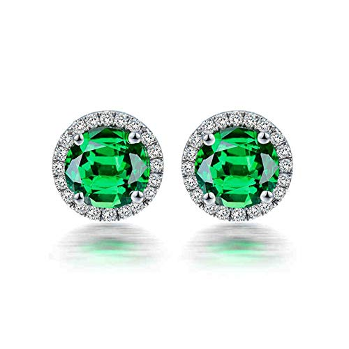 ANAZOZ Pendientes Tsavorita Mujer,Pendientes de Oro Blanco 18 Kilates Plata Verde Redondo Cristal Tsavorita Verde 1.3ct Diamante 0.16ct