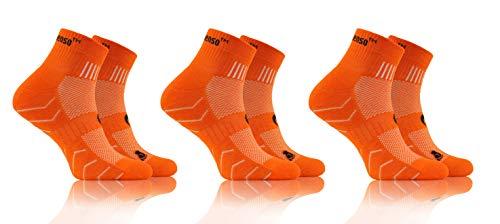 sesto senso Calze Spugna Sportive Colorate Corte Cotone Donna Uomo 3 Paia 43-47 Orange Arancione
