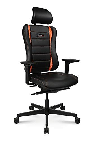 Topstar Sitness RS Pro, ergonomischer Bürostuhl, Schreibtischstuhl, Gamingstuhl, inkl. Multifunktionsarmlehnen XD und Kopfstütze, Stoff, Schwarz/Orange