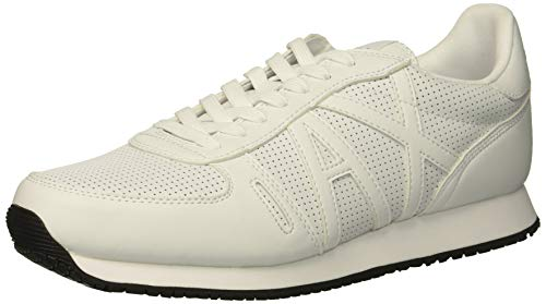 Armani Exchange Herren Lace Up with Logo Sneaker, Weiß (White 00152), 44 EU