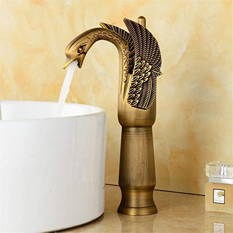 WMING Home Waschbecken Mischbatterie Badezimmer Küchenbecken Wasserhahn Dicht Wasserdicht Gold Antike Becken Warmen Und Kalten Kupfer Schwan E (Farbe   A)
