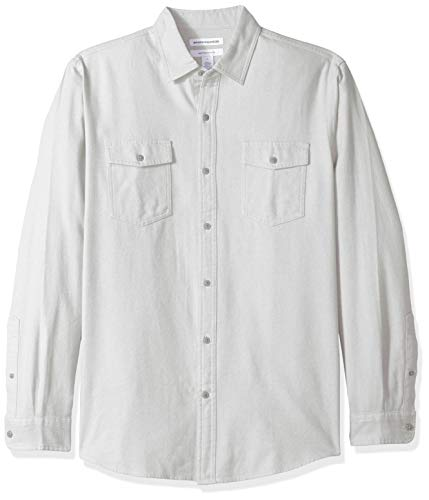 Amazon Essentials Men's Regular-Fit Long-Sleeve Solid Flannel Shirt, Light Grey Heather, X-Large