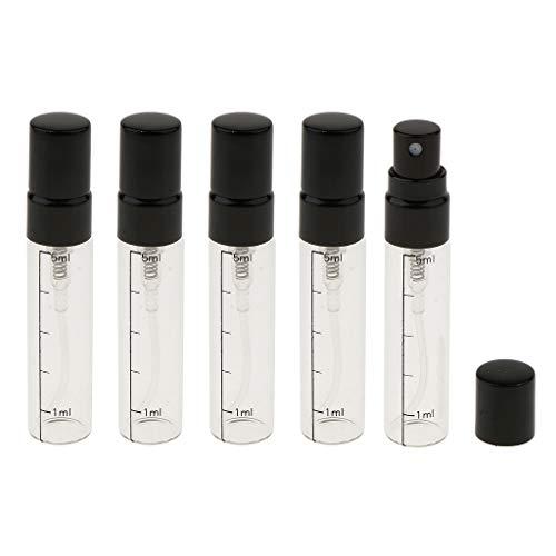 Homyl 5pcs mini Bouteille de Parfum avec Échelle Flacon de Voyage Pulvérisateur Parfum Rechargeable Liquide de Cosmétique - Or