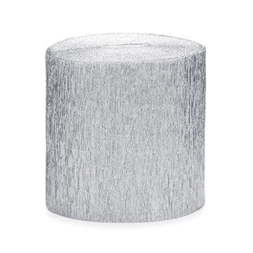 Publilancio SRL 4 Stück Rolle KREPP-Papier Rosen Aus Silber 5 cm x 10 M jeder total 40 M