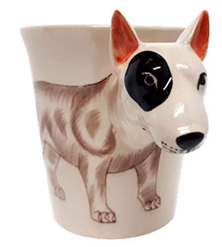 b2see Bullterrier Tasse 3D Tier Tasse 3D Becher Keramik Tasse mit Hundemotiv Hundekopf 14 x 15 x 10 cm
