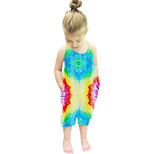 WEUIE Baby Girls Tie Dye Jumpsuits Kids Cute Backless Harem Strap Romper Jumpsuit Toddler Pants Size 1-6Y